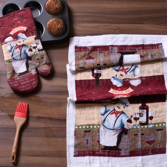 Kit De Cozinha 2 Peças   Luva E Pano  Chef - Panosul