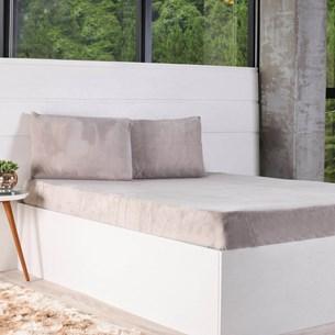 Kit Lençol King + Fronha Plush Soft Taupe - Bene Casa