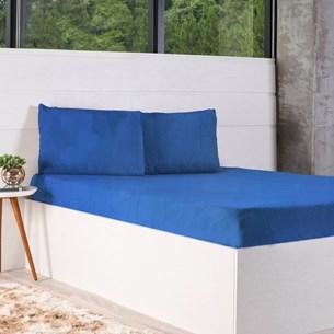 Kit Lençol + Solteiro Fronha Plush Soft Azul - Bene Casa