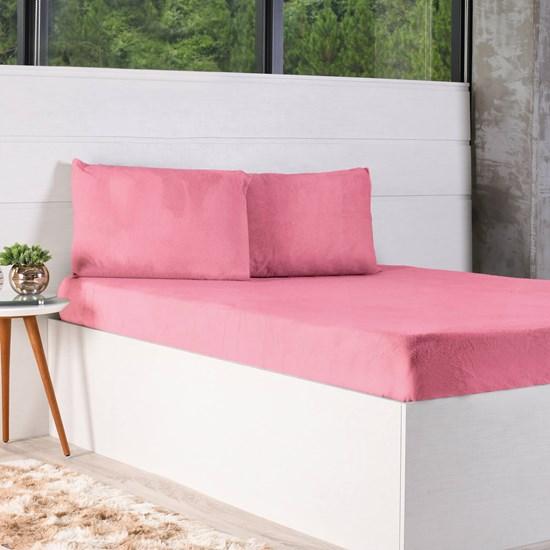 Kit Lençol + Solteiro Fronha Plush Soft Rosa - Bene Casa