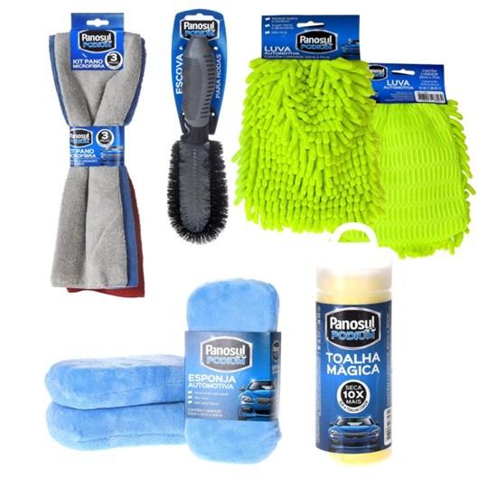 Kit Limpeza De Carro E Motos   Pano Microfibra Luva Esponja E Escova Aro Sortido - Panosul