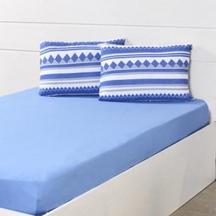 Lençol Avulso Malha 100% Algodão Queen Fio 30/1 Azul - Panosul
