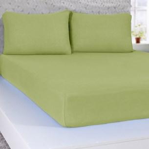 Lençol Casal De Malha 100% Algodão  Com Elástico Verde - Panosul