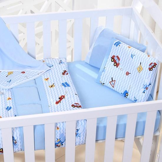 Lençol De Baby Em Malha 100% Algodão Fio Penteado Azul - Bene Casa