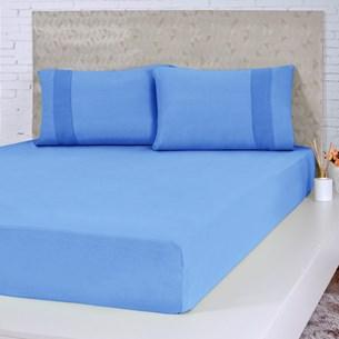Lençol De Malha Casal Fio Pentenado Com Elástico Bela Cama Azul - Bene Casa