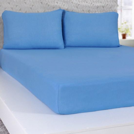 Lençol Queen De Malha 100% Algodão  Com Elástico Azul - Panosul