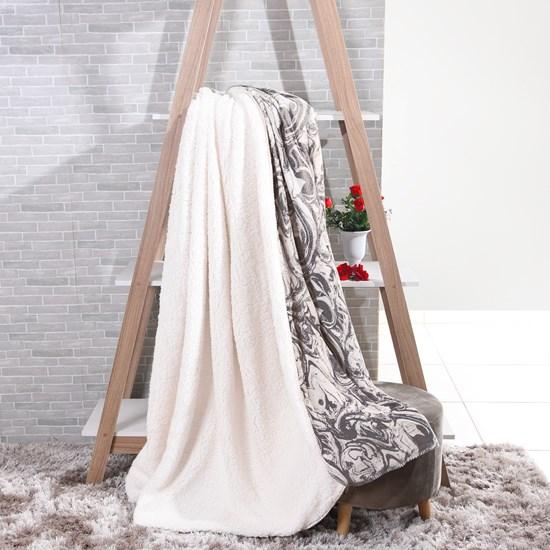 Manta Cobertor Casal Sherpa Lã De Carneiro + Flannel Carrara - Tessi