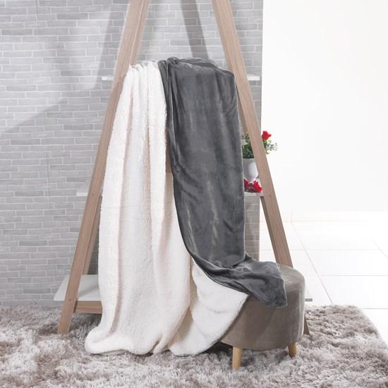 Manta Cobertor Casal Sherpa Lã De Carneiro + Flannel Cosmos - Tessi