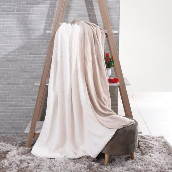 Manta Cobertor Casal Sherpa Lã De Carneiro + Flannel Taupe - Tessi