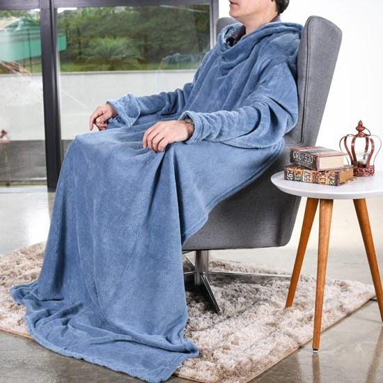 Manta Cobertor De Tv C/ Mangas 1,35M X 1,70M   Azul - Bene Casa