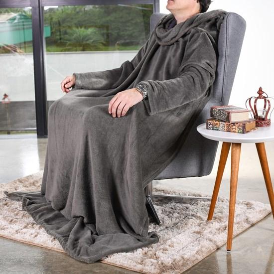Manta Cobertor De Tv C/ Mangas 1,35M X 1,70M   Grafite - Bene Casa