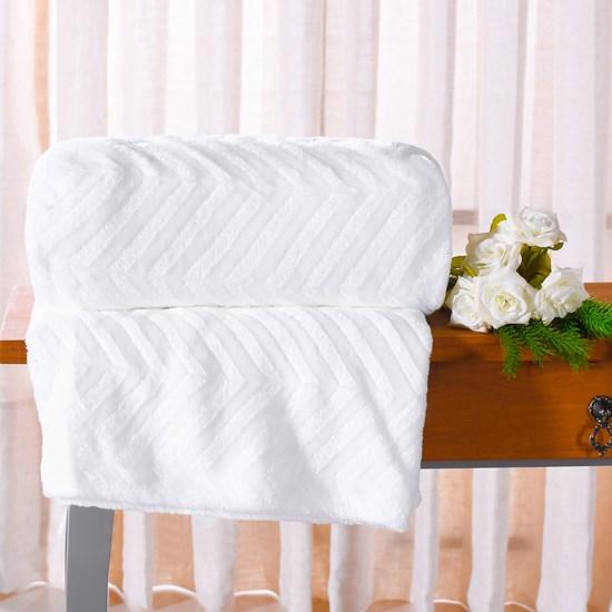 Manta Cobertor Queen Microfibra Flannel Penteado  Branco - Tessi