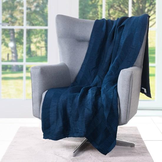 Manta Plissada   Toque De Elegância Com Detalhes Plissado Azul - Tessi