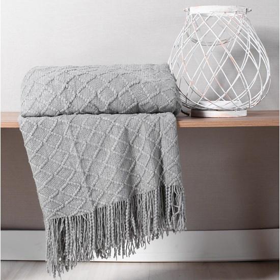 Manta Sofá Decorativa 1,27M X 1,52M Tricot Toque Macio Grey - Tessi