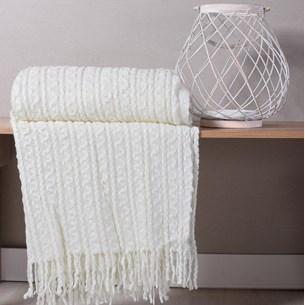 Manta Sofá Decorativa 1,60M 2,20M Tricot Toque Macio Branco - Tessi