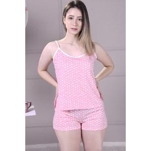 Pijama Curto Malha Com Alcinhas M Super Confortavel Love Poá - Due