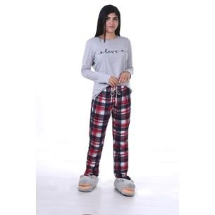 Pijama Feminino M Manga Longa Malha Love - Due