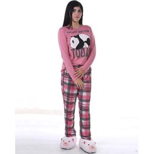 Pijama Feminino M Manga Longa Malha Panda - Due