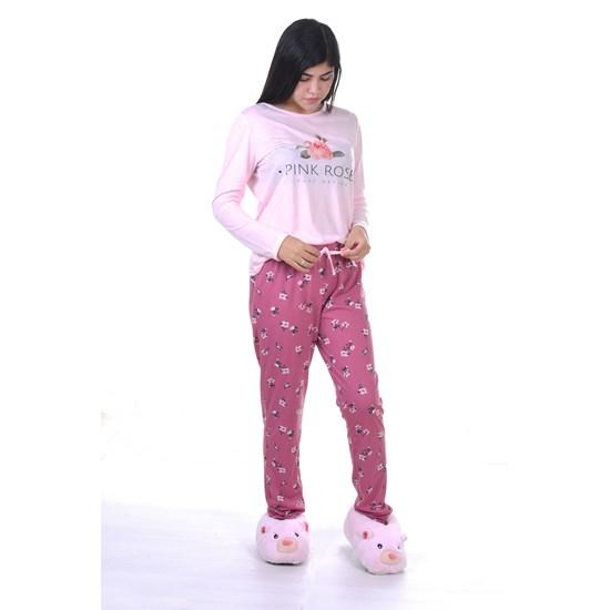 Pijama Feminino M Manga Longa Malha Pink Rose - Due