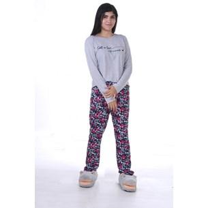 Pijama Feminino M Manga Longa Malha Sleep - Due