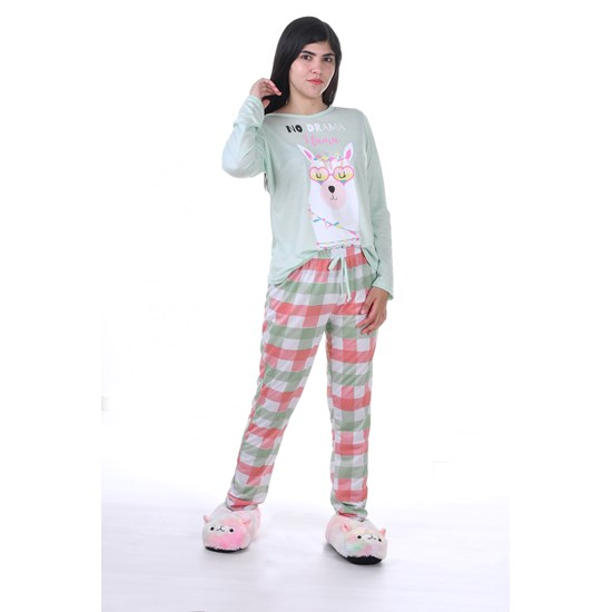 Pijama Feminino P Manga Longa Malha No Lhama - Due