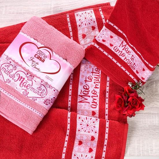 Presente Dias Das Mães Banho E Rosto Vermelha Jogo De Toalha Banho E Rosto  Sortido - Bene Casa