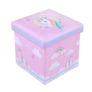 Puff Baú Infantil 30Cm X 30Cm Resistente Com Tampa Unicornio - Bene Casa