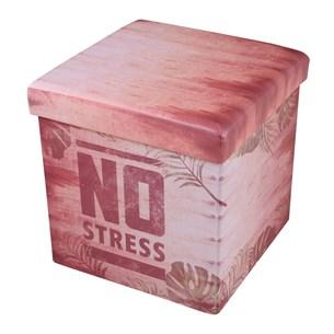 Puff Bau Quadrado 38Cm X 38Cm Resistente Com Tampa No Stress - Bene Casa