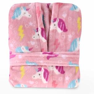 Roupão Infantil Com Capuz Toque Flannel Rosa - Bene Casa