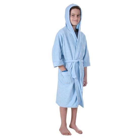 Roupão Infantil Malha Felpudo M Kimono Com Bolsos Azul - Bene Casa