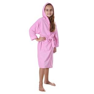 Roupão Infantil Malha Felpudo M Kimono Com Bolsos Rosa - Bene Casa