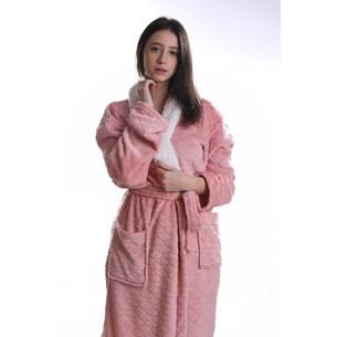 Roupão Lã De Carneiro Sherpa G Microfibra Flannel 180G/M² Blush - Tessi