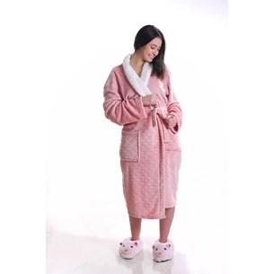 Roupão Lã De Carneiro Sherpa P Microfibra Flannel 180G/M² Blush - Tessi