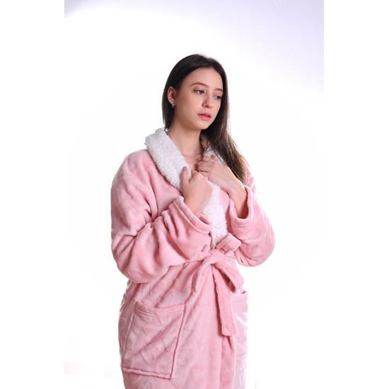Roupão Lã De Carneiro Sherpa P Microfibra Flannel 180G/M² Rose - Tessi