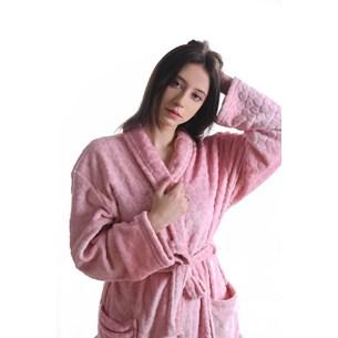 Roupão Microfibra Flannel M Extra Macio C/ Bolso  Blush - Tessi