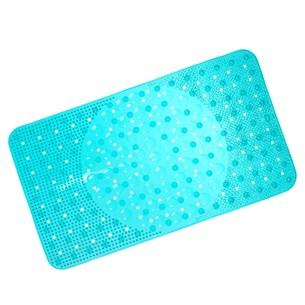 Tapete Box Antiderrapante 34Cm X 64Cm Com Ventosa Azul Claro - Panosul