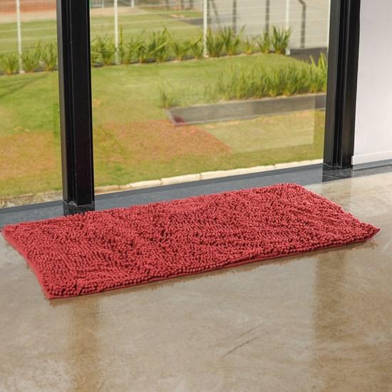 Tapete Chenille Antiderrapante 50Cm X 1,00M Felpa Alta Vermelho - Bene Casa