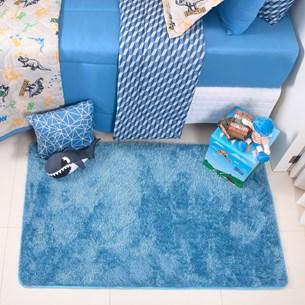 Tapete Confort Shaggy 1,00M X 1,50M Para Salas E Quartos Azul - Bene Casa