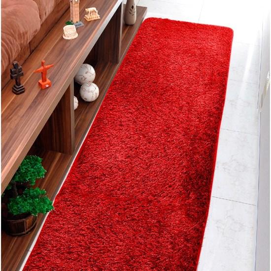 Tapete Confort Shaggy Passadeira 60Cm X 2,20M Para Salas E Quartos Bordo - Bene Casa