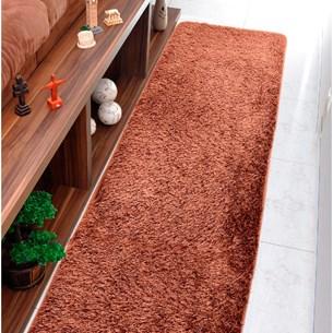 Tapete Confort Shaggy Passadeira 60Cm X 2,20M Para Salas E Quartos Marrom - Bene Casa