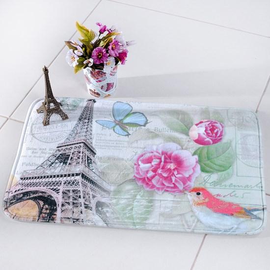 Tapete Digital Confort 40Cm X 60Cm Antiderrapante Floral Paris - Bene Casa