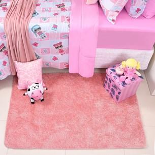 Tapete Infantil Confort 1,00M X 1,50M Peludo Anderrapante Rosa - Bene Casa