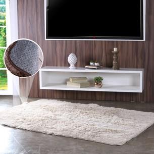 Tapete Peludo 1,40M X 2,00M Para Sala E Quarto Antiderrapante Fluff Marfim - Bene Casa