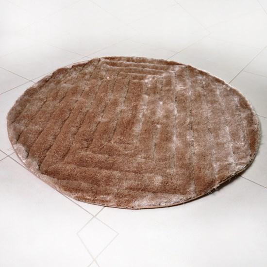 Tapete Shaggy 3D 1,50M Redondo Para Salas E Quartos Khaki Quadri - Tessi