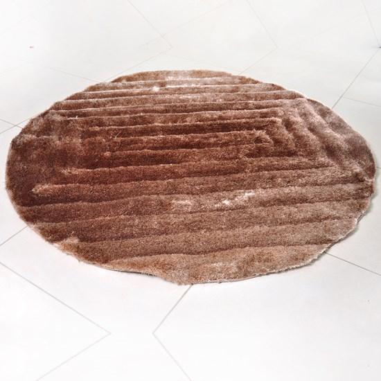 Tapete Shaggy 3D 1,50M Redondo Para Salas E Quartos Marrom Quadri - Tessi