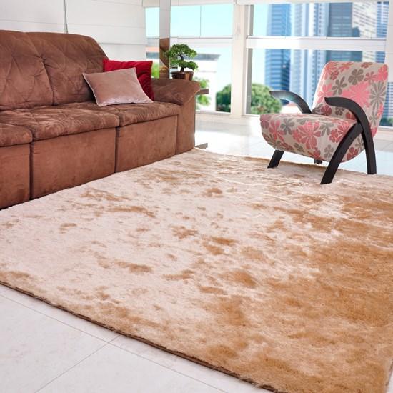 Tapete Silk Shaggy Peludo 2,00M X 2,50M Para Salas E Quartos Areia - Tessi
