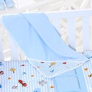 Toalha Capuz Bebê 70Cm X 70Cm Toque Aveludado Carrinhos Azul - Bene Casa