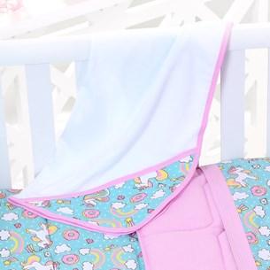 Toalha Capuz Bebê 70Cm X 70Cm Toque Aveludado Unicornio Branco - Bene Casa