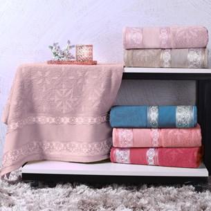 Toalha De Banho Avulsa Algodão 340G/M² Ponto Cruz Barra Jacquard Karicia Rosê Charme - Bene Casa