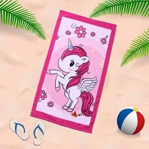 Toalha De Praia 60Cm X 1,10M Infantil Anti Areia Unicornio - Bene Casa